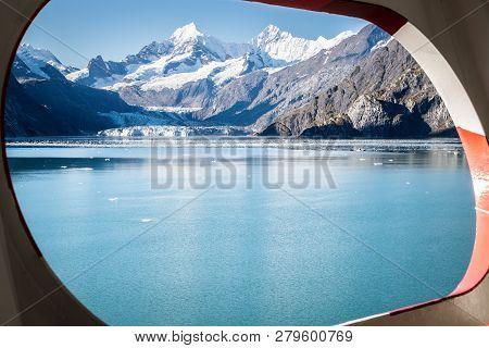 View Of Johns Hopkins Glacier Through A Ship Port Hole/window, Glacier Bay National Park, Alaska