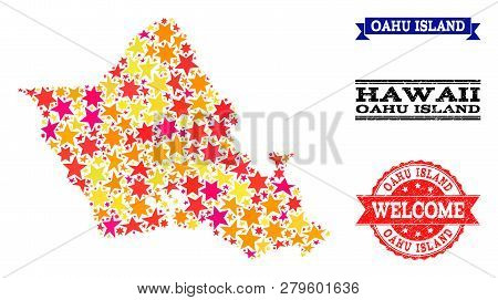 Mosaic Map Of Oahu Island Created With Colored Flat Stars, And Grunge Textured Stamps, Isolated On A