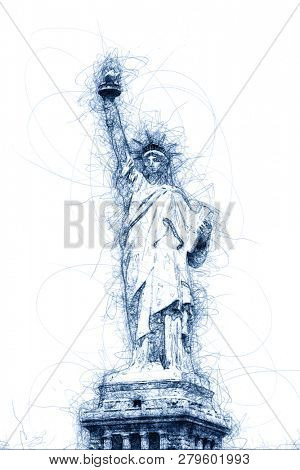 the Statue of Liberty in New York ballpoint pen doodle illustration