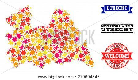 Mosaic Map Of Utrecht Province Designed With Colored Flat Stars, And Grunge Textured Stamps, Isolate