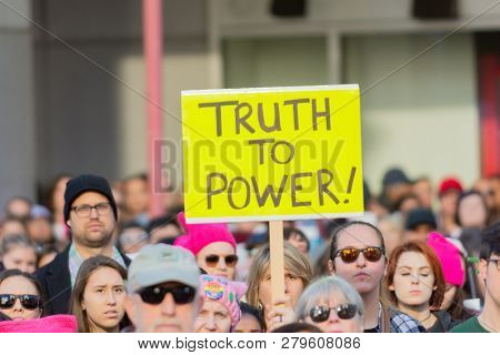 Protester Holding A Sign During 3Rd Womens March In Los Angeles.