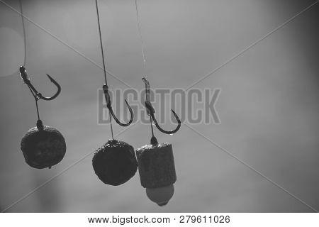Baits, Hooks, Sinkers Preparing For Carp Fishing.