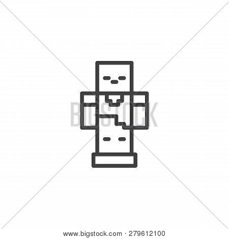 Pixel Robot Line Icon. Linear Style Sign For Mobile Concept And Web Design. Gaming Zombie Mob Outlin