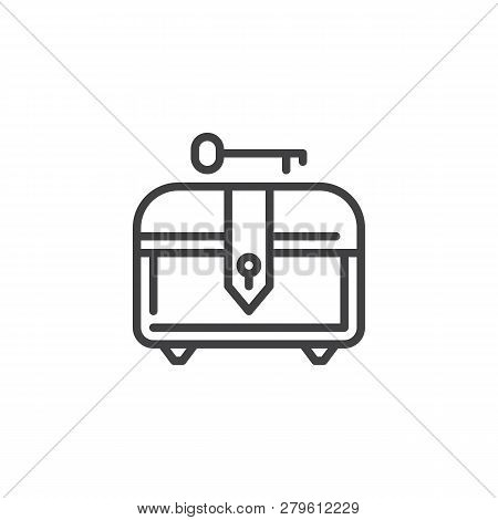 Treasure Chest And Key Line Icon. Linear Style Sign For Mobile Concept And Web Design. Chest For Gam