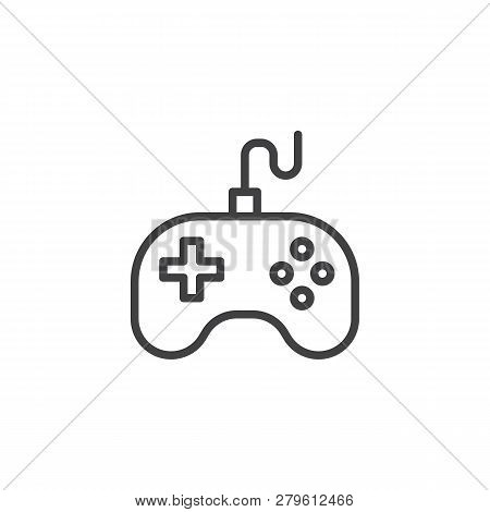 Game Controller Joystick Line Icon. Linear Style Sign For Mobile Concept And Web Design. Video Game