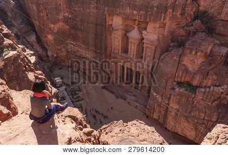 Traveler Enjoying Aerial View Of At Antique City Petra In Amman, Jordan