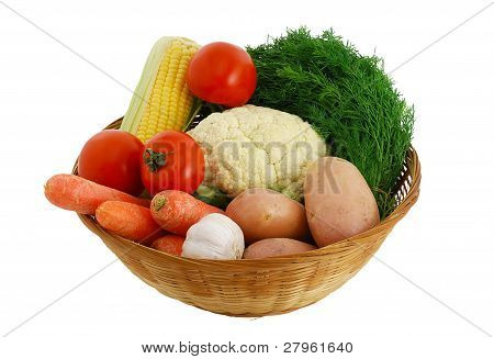 Big Mix Of Fresh Vegetables In Straw Bowl
