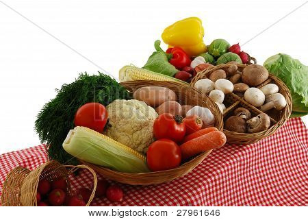 Farmer Market Stand With Rich Vegetables Selection