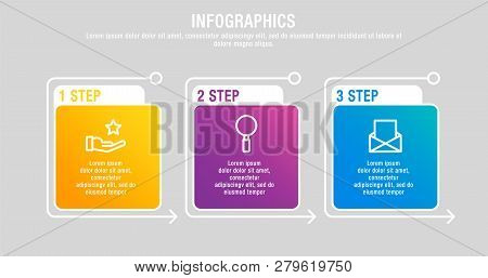 Modern 3D Vector Illustration. A Rectangular Infographic Template With Three Elements, Squares And P