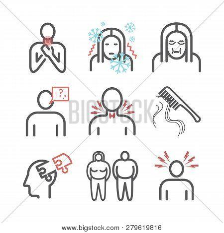 Hyperthyroidism. Symptoms, Treatment. Line Icons Set. Vector Signs For Web Graphics.