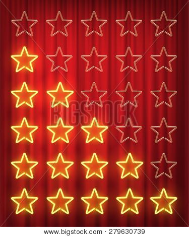 Set Of Yellow Neon Stars Rating Design Elements Isolated On Red Curtain Background. Vector Kit Of Ne