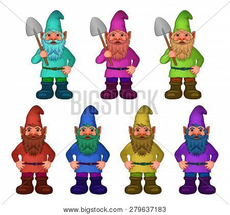 Set Of Cartoon Garden Gnomes, Funny Fairy Characters, Old Bearded Dwarfs With Spades In Colorful Clo
