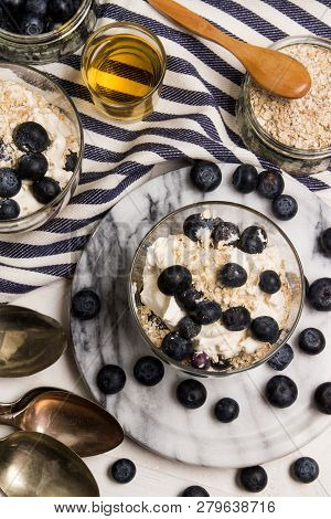 Cranachan, A Very Scottish Dessert Made With Oat Flakes, Blueberries, Whisky And Whipped Cream In A