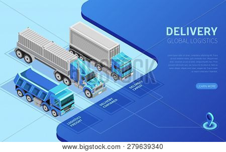Three isometric freight trucks of various types depicted near description for website page poster