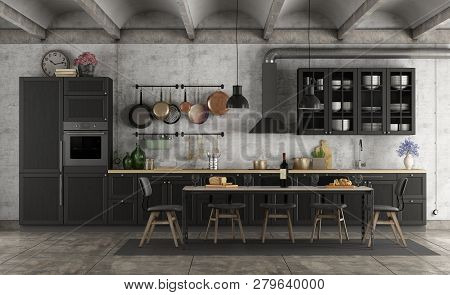Retro Black Kitchen In A Grunge Interior With Dining Table - 3d Rendering