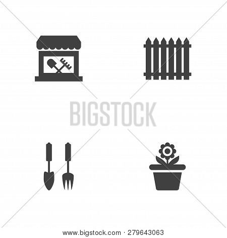 Set Of 4 Farm Icons Set. Collection Of Tool Shop, Garden Instruments, Hedge And Other Elements.