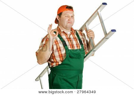 Cheerful Worker In Overalls With A Ladder