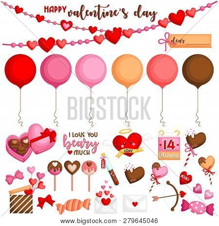 A Vector Set Of Cute And Sweet Valentine Items For The Celebration