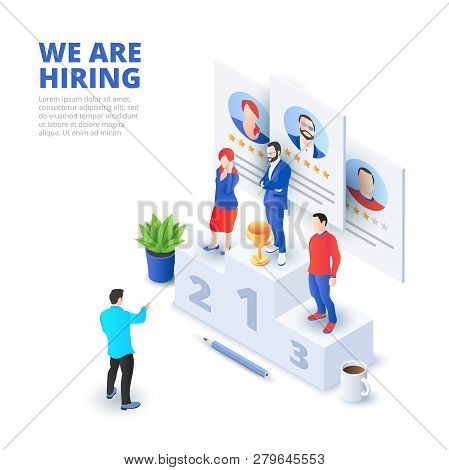 Hiring And Recruitment Isometric Vector Illustration. Recruit Resources, Research And Choice. Applic