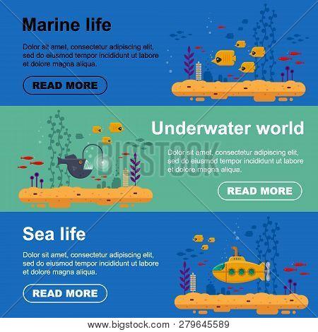 Horizontal Banner Yellow Submarine With Periscope, School Of Fish, Angler Fish. Marine Life Flyer Wi