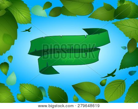 Spring Background With Blank Green Banner Leafs And Birds Over Blue Sky