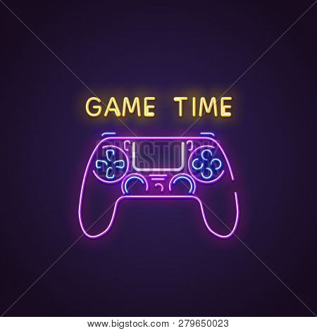 Gamepad Neon Sign. Glowing Neon Sign Of Modern Gamepad. Game Time Letters Glowing In Retro Colors. G