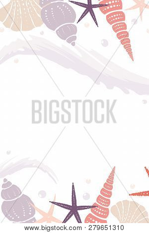 Marine Vector Background With Wave And Shells. Eps 10