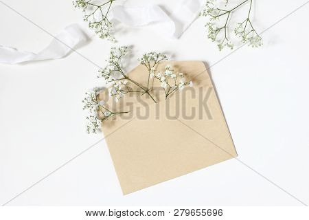 Styled Stock Photo. Feminine Wedding Desktop Mockup With Babys Breath Gypsophila Flowers, Satin Ribb