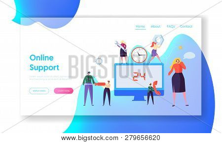 Customer Call Service Online Support Landing Page. Technical Hotline Chat Help Center Assistant Tech