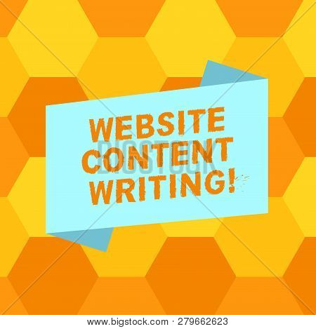Handwriting Text Writing Website Content Writing. Concept Meaning Writing An Informative Content For