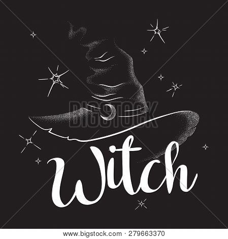 Pointy Witch Hat With Crescent Moon Hand Drawn Line Art And Dotwork. Boho Chic Poster, Flash Tattoo