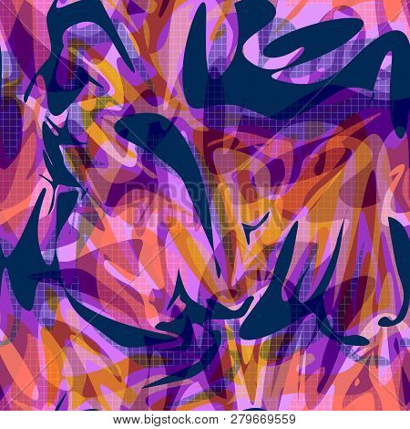 Seamless Abstract Modern Shapes Pattern Background  Illustration