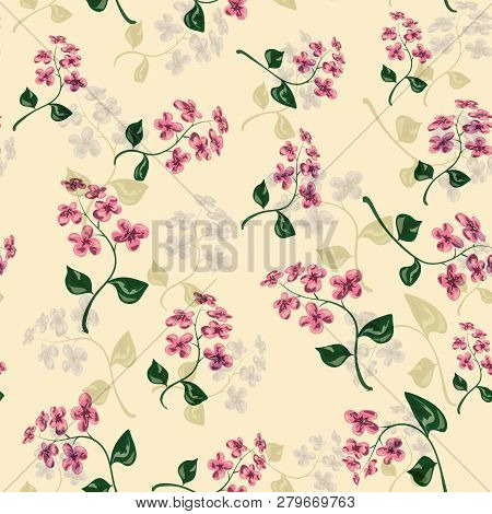 Beautiful Bright Floral Seamless Pattern With Forget-me-not On Beige Background