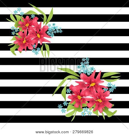Seamless Floral Pink Flowers On Striped Lined Pattern Background