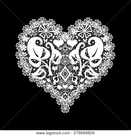 Lace White Heart Illustration Valentines Day Romantic Retro Black Background