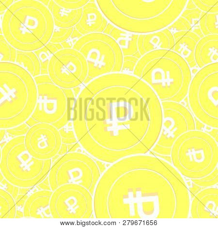 Russian Ruble Gold Coins Seamless Pattern. Curious Scattered Yellow Rub Coins. Success Concept. Russ