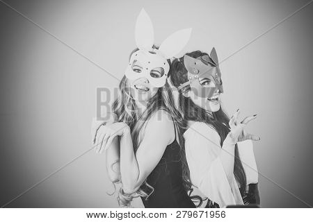Easter Bunny, Playboy, Friendship. Easter Cocept, Two Pretty Girls In Rabbit Masks