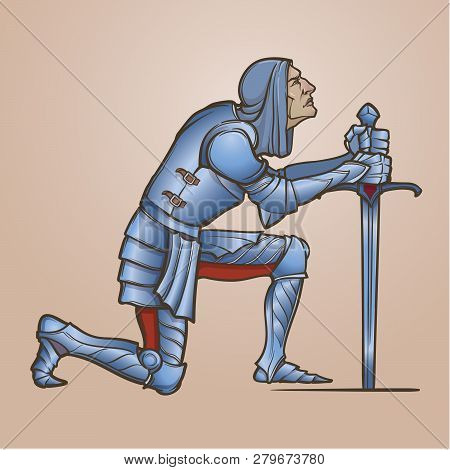 Medieval Knight Kneeling Down And Offering His Service. Medieval Gothic Style Concept Art. Design El
