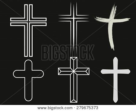 Crosses of christian religion. Set of isolated orthodoxy and catholicism divine symbols in shape of cross, Jesus Christ and God, faith sign. poster