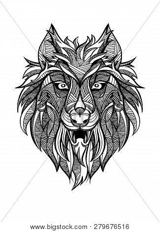 Ornamental Vintage Wolf Predator, Black And White Tattoo, Decorative Retro Style. Isolated Vector Il
