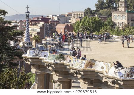 Spain, Barcelona - May 05.2014: Park Guell In Barcelona, Spain. Park Was Designed By Gaudi And Built