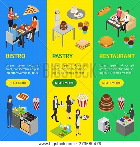 Restaurant Cafe Or Bar Personnel People 3d Banner Vecrtical Set Isometric View. Vector