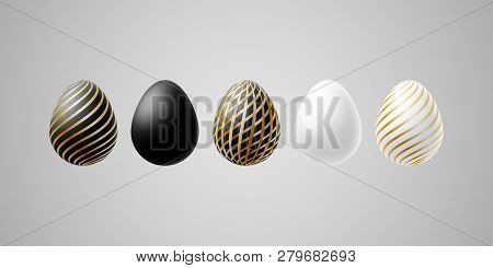 Bright Modern Luxury Easter Eggs Set Of White Black Gold Elegant Egg With Spiral Lines Pattern On A