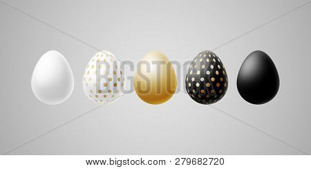 Bright Modern Luxury Easter Eggs Set Of White Black Gold Egg With Specks Points Dots Pattern On A Li