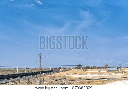 Hopetown, South Africa, September 1, 2018: A Train On The Main Railroad Between Johannesburg And Cap