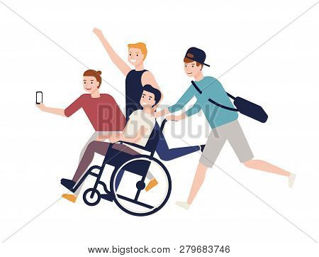 Group Of Crazy Happy Friends Running, Carrying Boy Sitting In Wheelchair And Making Selfie. Friendsh