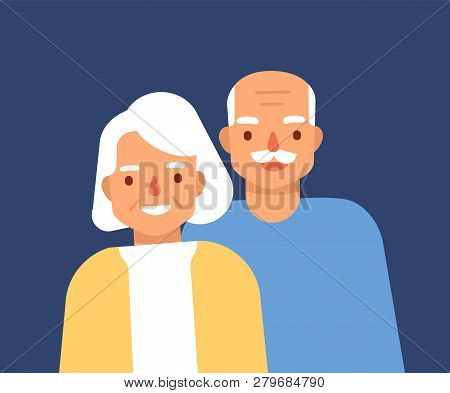 Portrait Of Cute Happy Elderly Couple. Smiling Old Man And Woman, Grandparents. Grandfather And Gran