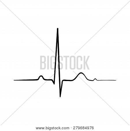 Ecg Heartbeat. Cardiology Symbol. Logo For Cardiologist. Medical Icon