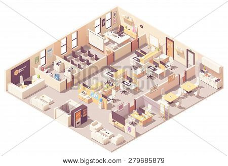 Vector Isometric Corporate Office Interior Plan. Reception, Elevator, Conference Room, Presentation
