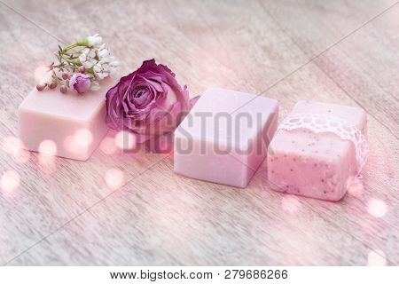 Decoration In Vintage Style With Natural Soap And Purple Roses For Beauty Care